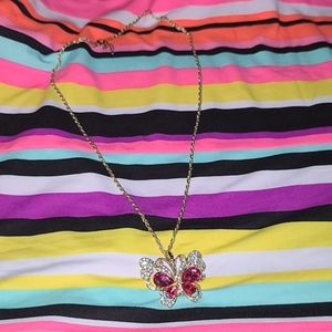 Beautiful butterfly necklace. Pink rhinestone